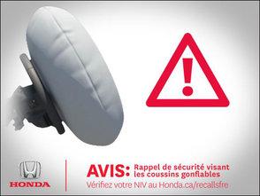 Rappel de sécurité sur coussins gonflables Takata chez Avantage Honda à Shawinigan