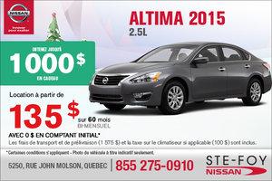 Nouvelle Nissan Altima 2015 en location à 135$ bi-mensuel