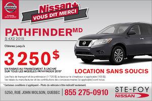 Rabais jusqu'à 3250$ sur le Nissan Pathfinder 2015