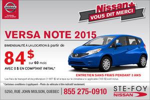 Le nouvelle Nissan Versa Note 2015: location bimensuelle à 84$