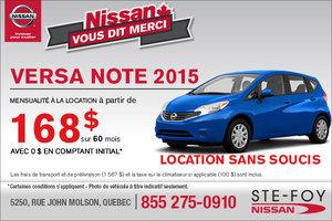 Le nouvelle Nissan Versa Note 2015: location mensuelle à 168$