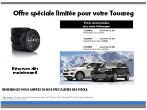 Promotion  spéciale pneus d'hiver pour votre Touareg