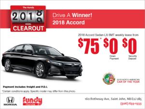 Lease the 2018 Honda Accord Sedan!