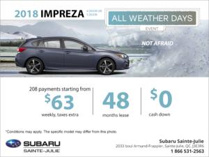 Lease the 2018 Impreza today!