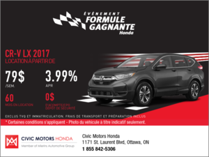 Économisez sur le Honda CR-V 2017 dès aujourd'hui!