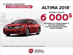 Obtenez le Nissan Altima 2018 dès aujourd'hui!
