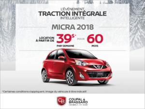 Obtenez la Nissan Micra 2018 dès aujourd'hui!