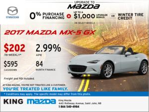 Get a New 2017 Mazda MX-5 GX