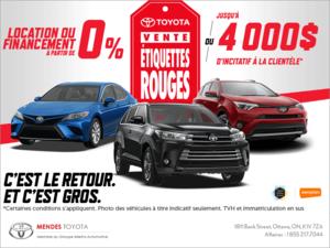 C'est la vente Étiquettes Rouges de Toyota!