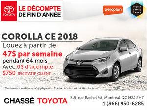 Le Corolla 2018 en rabais!