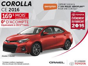Louez un Toyota Corolla 2016 CE à 169$/mois pour 60 mois!