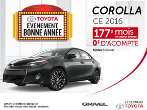 Louez un Toyota Corolla 2016 CE à 177$/mois pour 60 mois!
