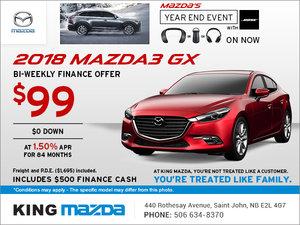Save on the 2018 Mazda3 GX!