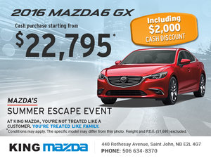 Save on the Brand-New 2016 Mazda6 GX Today!