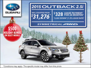 2015 Subaru Outback 2.5i - Lease it from $328 per month