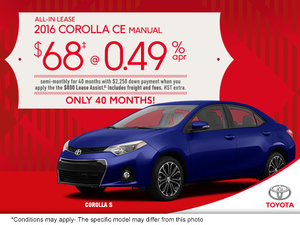 Get the 2015 Toyota Corolla today!