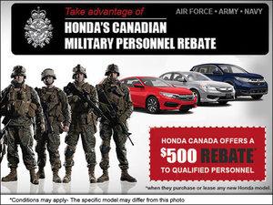 Take advantage of HONDA'S CANADIAN MILITARY PERSONNEL REBATE