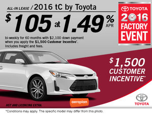 Lease the 2016 tC by Toyota Today!