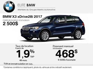 Obtenez le BMW X3 xDrive28i 2017 aujourd'hui!
