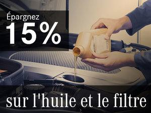 Épargnez 15% sur l'huile et le filtre