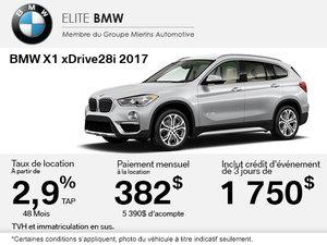 Obtenez le BMW X1 xDrive28i 2017 aujourd'hui!