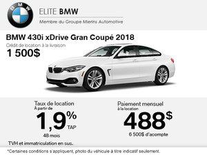 Obtenez le BMW 430i xDrive 2018 aujourd'hui!