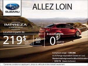 Subaru Impreza 4 portes 2014 en location à partir de 219$ par mois