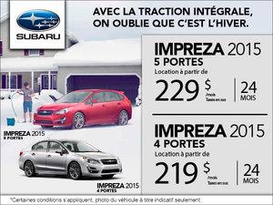 Subaru Impreza 4 portes 2015 en location à partir de 229$ par mois
