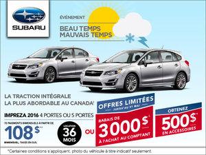 Louez la Subaru Impreza 4 portes 2016 à partir de 108$ bi-mensuellement