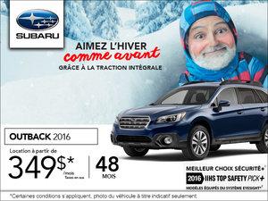 Louez le Subaru Outback 2016 à 349$ par mois