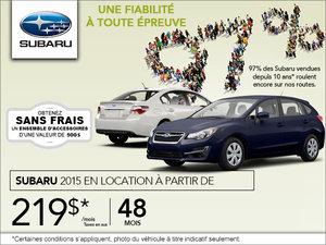 Pendant l'événement du mois novembre, louez un Subaru à partir de 219$!