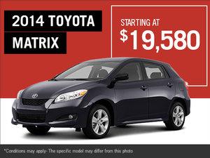 Take advantage of the new 2014 Toyota Matrix