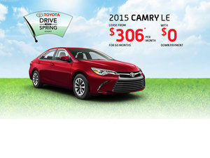 Drive the 2015 Toyota Camry for as low as $306 per month