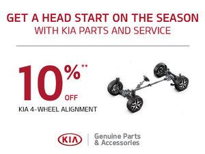 10% off a Kia 4-wheel alignment