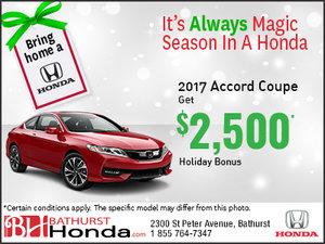 Get $2,500 Holiday Bonus on the 2017 Honda Accord Coupe!