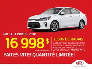 La Kia Rio LX 2018 - 2 500$ de rabais!
