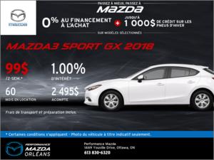 Obtenez une Mazda 3 Sport GX 2018 aujourd'hui! chez Performance Mazda à Ottawa