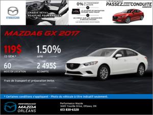 Obtenez la Mazda6 GX 2017 aujourd'hui! chez Performance Mazda à Ottawa