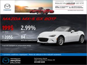 La nouvelle Mazda MX-5 GX 2017 en rabais! chez Performance Mazda à Ottawa