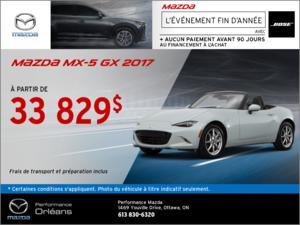 La Mazda MX-5 GX 2017! chez Performance Mazda à Ottawa