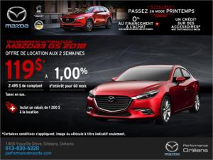Procurez-vous une Mazda 3 2018 aujourd'hui! chez Performance Mazda à Ottawa