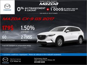 Obtenez la Mazda CX-9 GS 2017 aujourd'hui! chez Performance Mazda à Ottawa