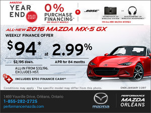 Save on the New 2016 Mazda MX-5 GX Today!
