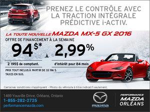 La nouvelle Mazda MX-5 GX 2016 en rabais! chez Performance Mazda à Ottawa
