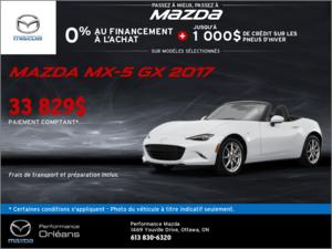 La Mazda MX-5 GX 2017 en rabais! chez Performance Mazda à Ottawa