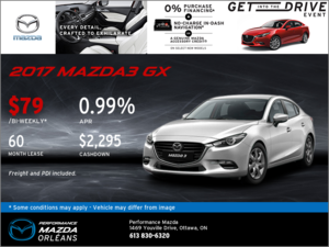 Lease the 2017 Mazda3 GX Today!