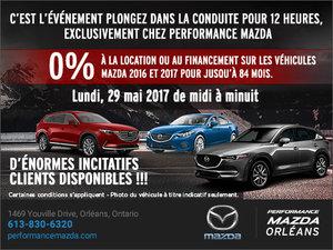 L'événement plongez dans la conduite pour 12 heures chez Performance Mazda à Ottawa