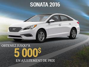 Jusqu'à 5 000$ en ajustement de prix sur le Hyundai Sonata 2016 chez Groupe Vincent à Shawinigan et Trois-Rivières