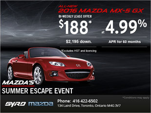 Get the 2016 Mazda MX-5 GX Today!