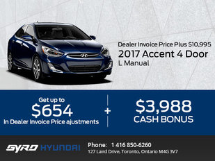 The 2017 Hyundai Accent 4-Door L Manual in Toronto!